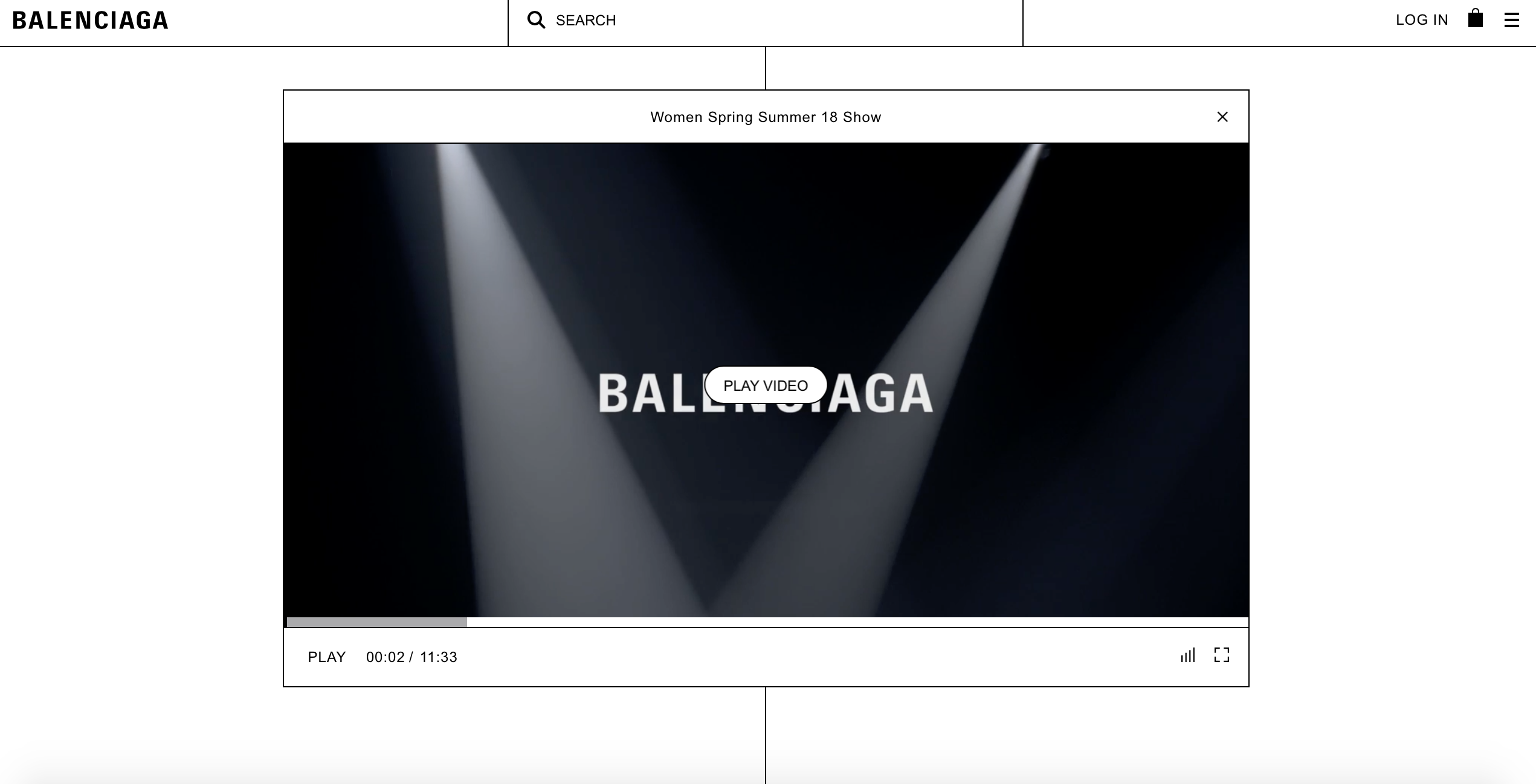 Balenciaga website and brand